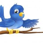 Bluebird sitting on branch pointing — Stock Vector