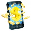 Dollar money phone concept — Image vectorielle