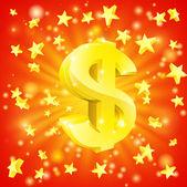 Concepto estrellas dólar dinero — Vector de stock