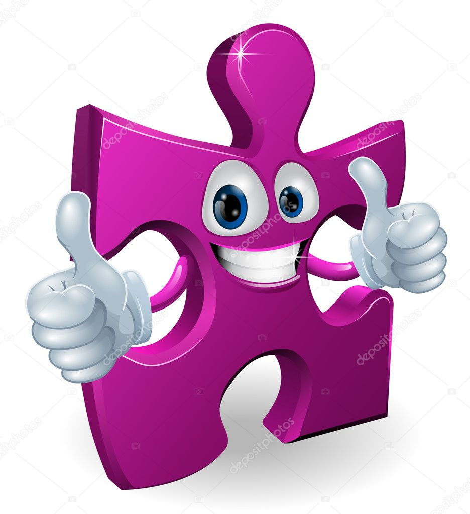 A jigsaw piece cartoon man smiling and giving a double thumbs up — Image vectorielle #10540614