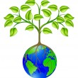 World globe tree — Vector de stock #10611997