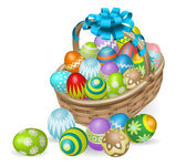 Colourful painted Easter eggs basket — Stock Vector