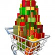 Royalty-Free Stock Vector Image: Shopping trolley cart with lots of gifts