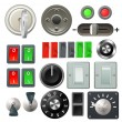 Knob switch and dial design elements - Imagen vectorial
