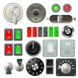 Knob switch and dial design elements - Stock Vector