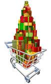 Shopping trolley vagn med massor av presenter — Stockvektor