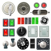 Knob switch and dial design elements — Stock Vector