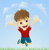 Young happy boy jumping — Stock Vector
