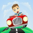 Young man driving fast classic car — Imagen vectorial