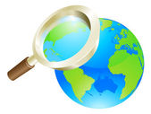 Magnifying glass world earth globe concept — Stock Vector