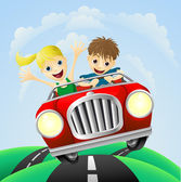 Young man and woman in car — Stock Vector