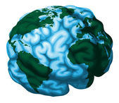 Brain world globe illustration — Stock Vector