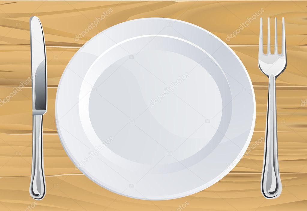 Assiette et couverts sur la table en bois image - Couvert sur la table ...