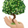 Hand holding a growing tree — Stock Vector