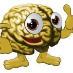 Ilustración de personaje de dibujos animados cerebro — Vector de stock