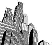 Monochroom stad wolkenkrabbers — Stockvector