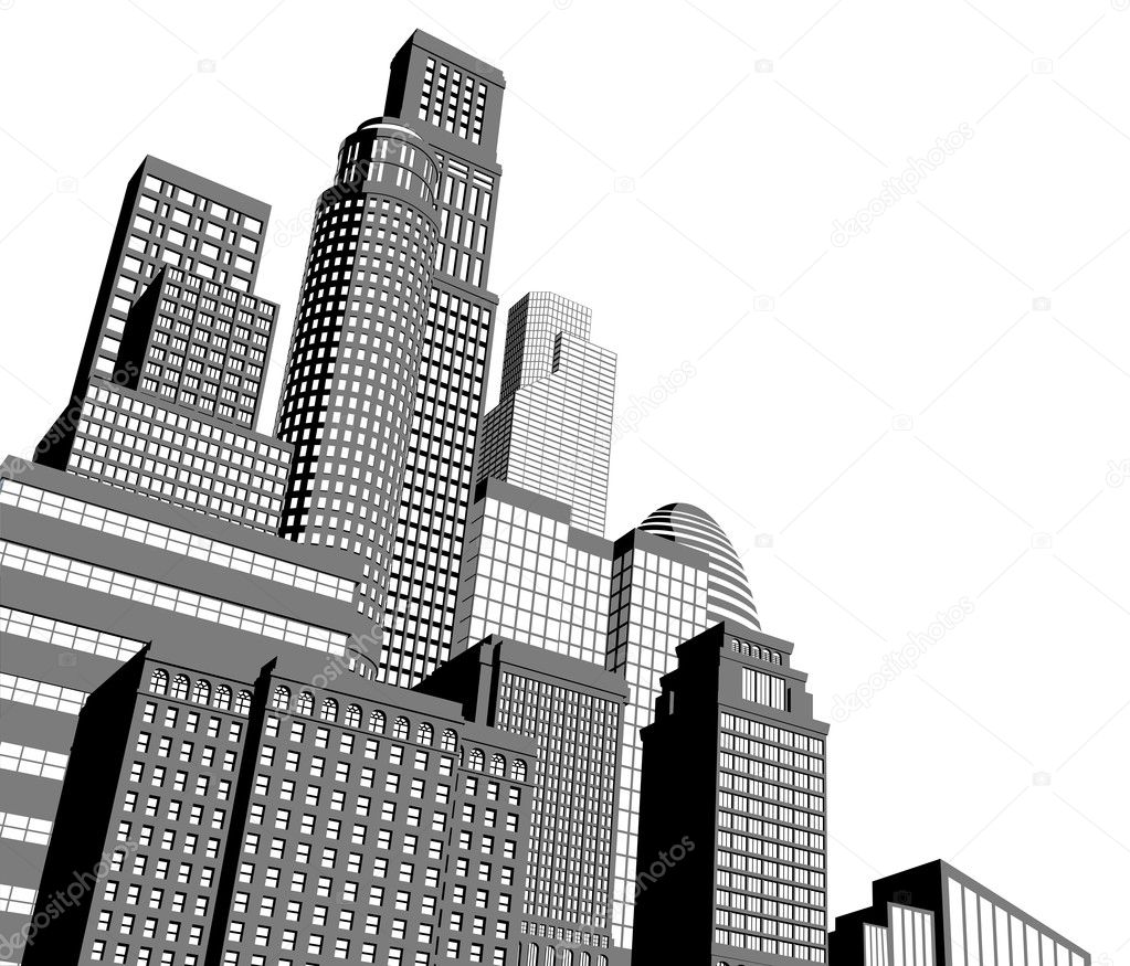 Monochrome gray and black and white city illustration with dramatic perspective  Stock Vector #8562054