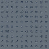 100 professional grey web icon set — Stock Vector