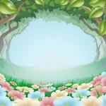 Beautiful fantasy forest scene illustration — Stock Vector