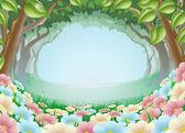 Illustrazione di fantasia bella foresta scena — Vettoriale Stock