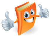 Thumbs up book cartoon character — Vector de stock