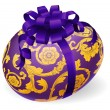 Purple and gold Easter Egg With Bow - Stock Vector