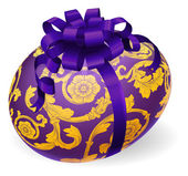 Purple and gold Easter Egg With Bow — Stock vektor