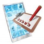 Online survey phone app clipboard concept — Stock Vector