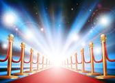 Kırmızı halı ve flaş ışıkları ile büyük giriş — Stok Vektör