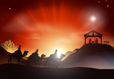 Traditional Christmas Nativity Scene