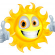 Sun man cartoon character — Stock Vector