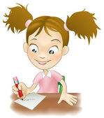 Young girl writing at her desk — Stock Vector
