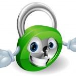 Smiling padlock character — Stock Vector