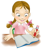 Young girl writing in a book — Stock Vector