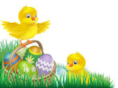 Easter chicks and egg basket — Stock Vector