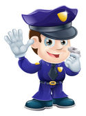 Policeman character cartoon illustration — Vector de stock
