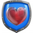 Heart shield concept — Stock Vector