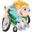 Wheelchair racing cartoon man - Stock Vector