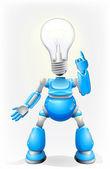 Blue robot light bulb head — Stock Vector