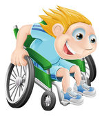 Wheelchair racing cartoon man — Stock Vector