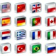 Flag icons buttons — Vector de stock #9783996