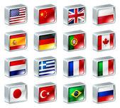 Bandera iconos botones — Vector de stock