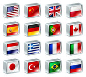 Flag icons buttons — Vettoriale Stock