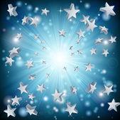 Blauwe sterren explosie achtergrond — Stockvector