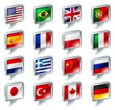 Flag speech bubble icons buttons — Stock Vector