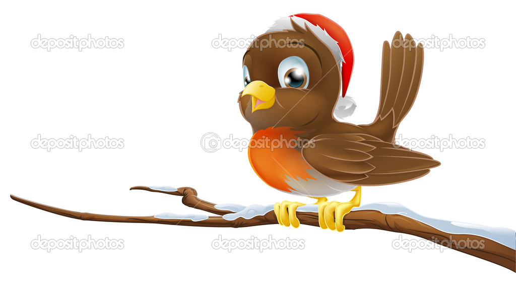 A Christmas Robin bird sitting on snowy branch illustration — Stock Vector #9966528