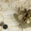 Map, sextant and compass — Stock Photo