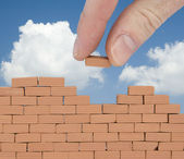 Brick on the wall with sky — Stock Photo