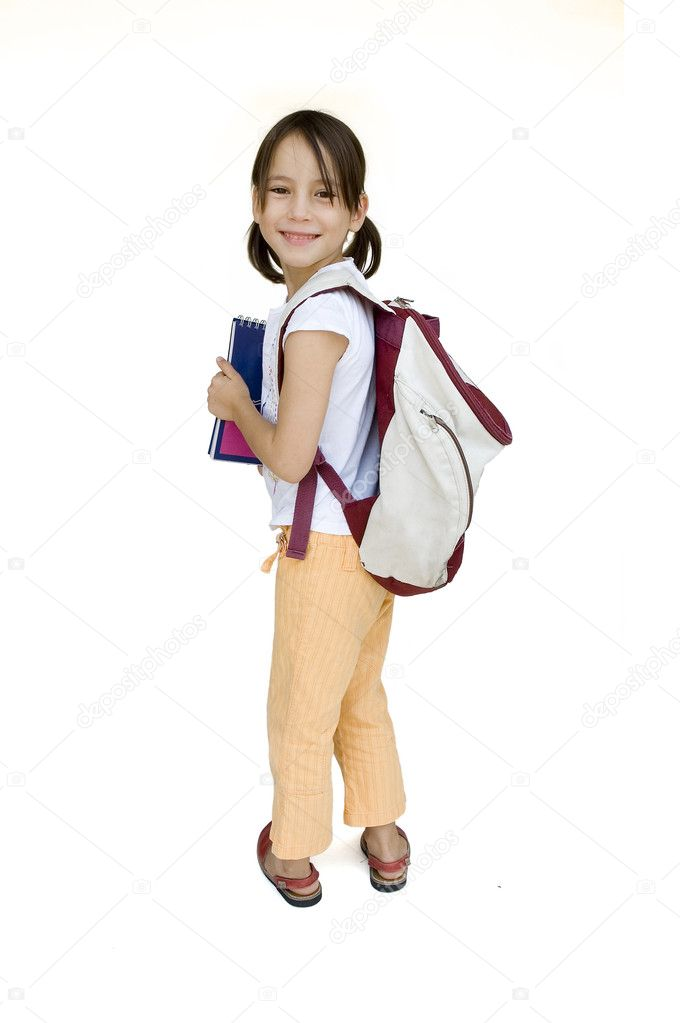 Young girl ready for school isolated on white  Stock Photo #9048258