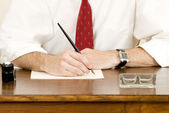 Writing on a ancient desk — Stock Photo
